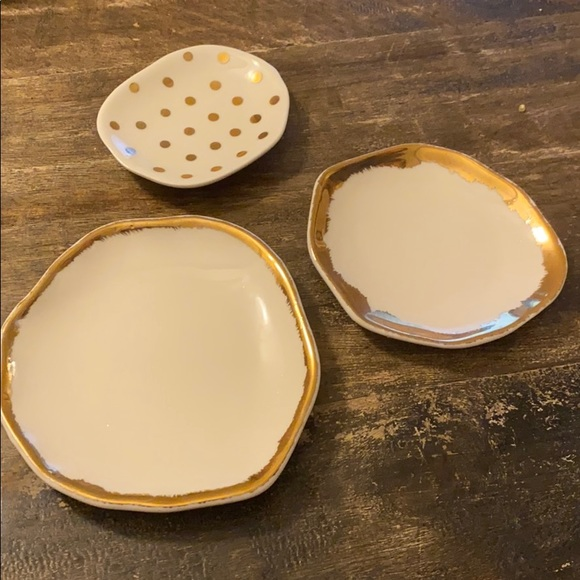 Anthropologie jewelry accessory trays dishes gold